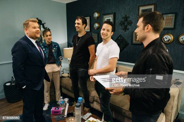Musical guests Ocean Park Standoff chat in the green room with James Corden during 'The Late Late Show with James Corden' Tuesday May 2 2017 On The...