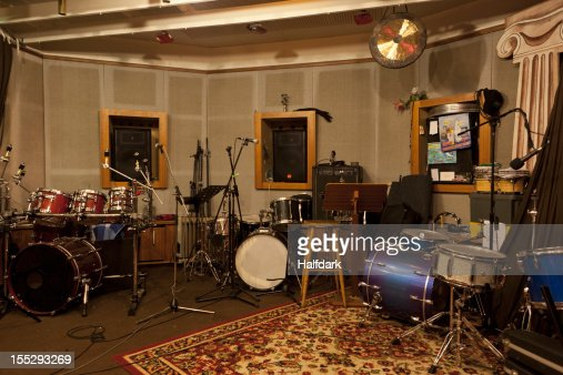 Musical instruments and audio equipment in a sound studio