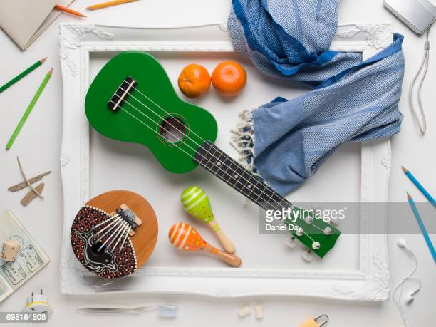 Musical instruments, objects representing travel and colourful fruit displayed around a white picture frame on a white background