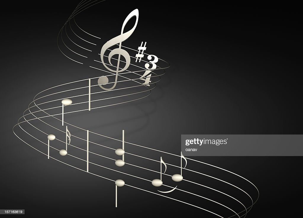 musical notes on black : Stockfoto