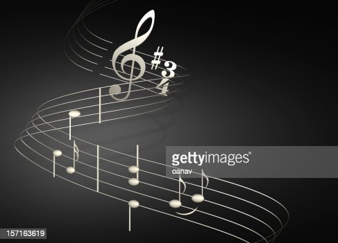 musical notes on black : Stock Photo