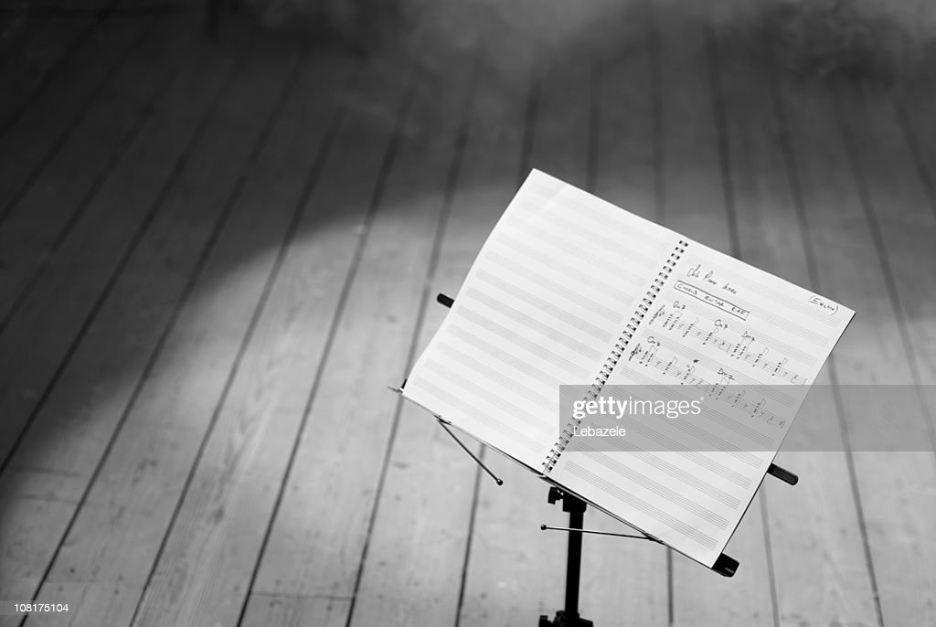 Musical Notes on Stand, Black and White