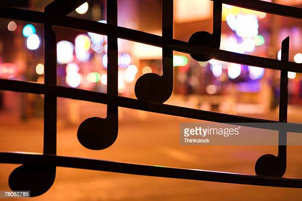 Musical notes on window on Beale Street, Memphis