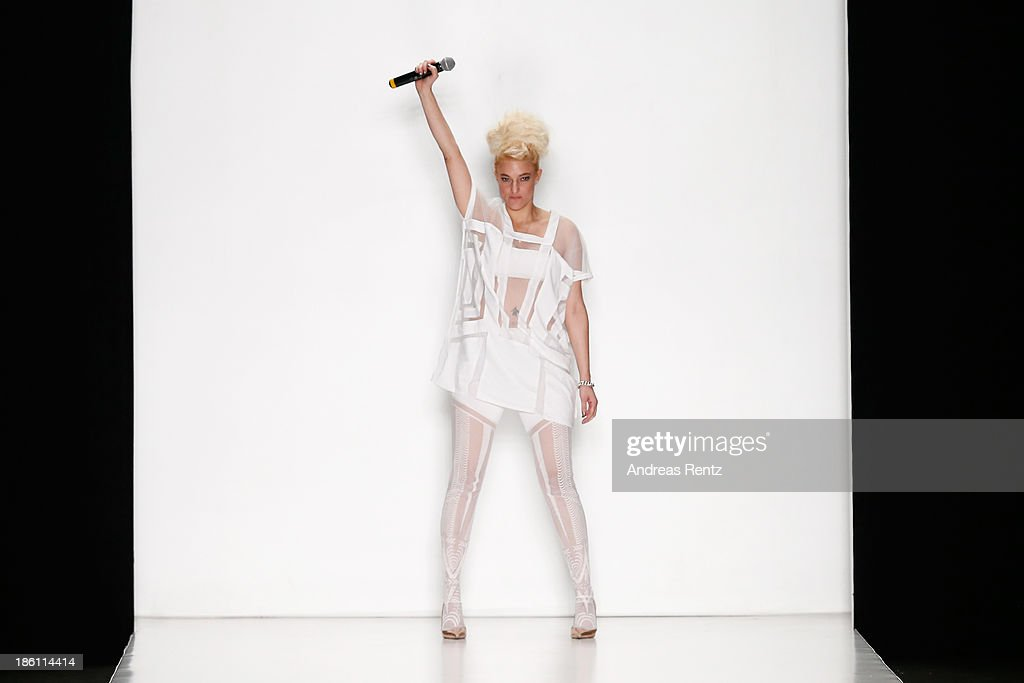 A musical performer on the runway at the Tel Aviv Fashion Week Collections show during Mercedes-Benz Fashion Week Russia S/S 2014 on October 28, 2013 in Moscow, Russia.