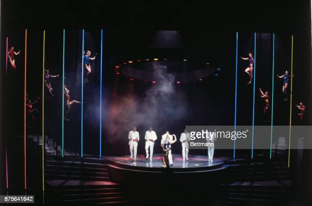 Musical performer Sandahl Bergman performs the Oscar nominated song Eye of the Tiger with the help of The Temptations on stage during the 1982...