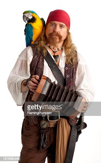 Musical Pirate with a Parrot and Concertina on White.