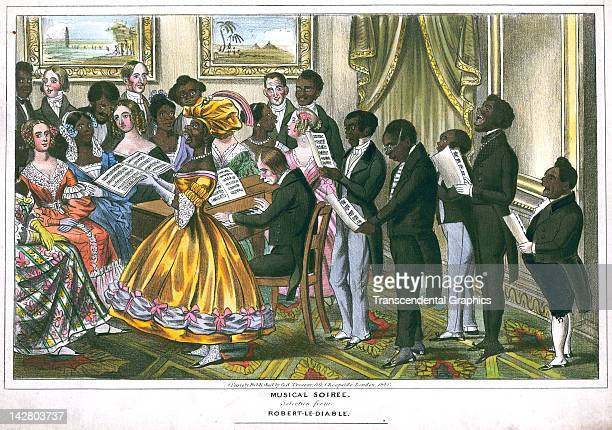 A musical recital featuring a mixed race assemblage is the subject of a Tregear lithographic print made in London England in 1840