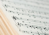 close up of an old musical score