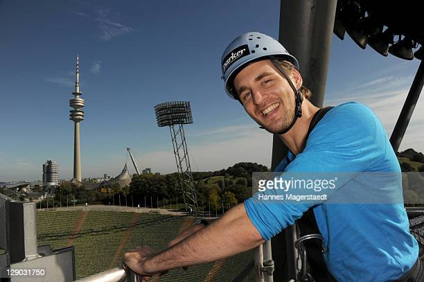 Musical Star Alexander Klaws prepares to fly on Munich Flying Fox above the Munich Olympiastadion on October 11 2011 in Munich Germany
