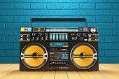 Musical tape player recoreder. Vintage radio FM player. 3d render