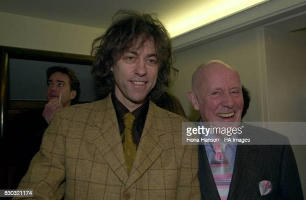 Musican and Disc Jockey Bob Geldof with actor Richard Wilson arriving at The Savoy in London for the South Bank Show awards