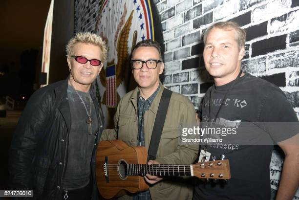 Musican Billy Idol actor / comedian / musician Fred Armisen and artist Shepard Fairey attend the Johnny Ramones tribute at Hollywood Forever on July...
