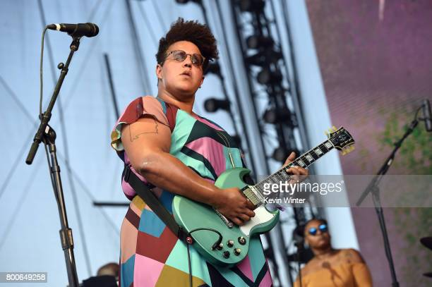 Musican Brittany Howard of musical group Alabama Shakes performs on The Oaks stage during Arroyo Seco Weekend at the Brookside Golf Course at on June...