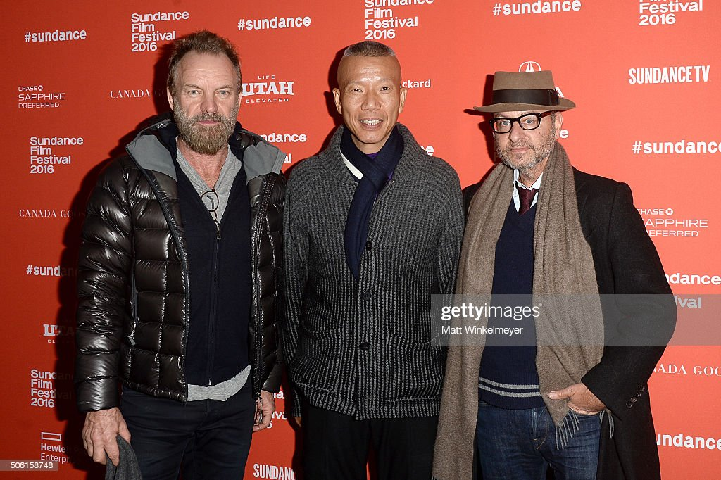 Musican Cai Guo-Qiang, artist Cai Guo-Qiang, and actor Fisher Stevens attend the 'Sky Ladder: The Art Of Cai Guo-Qiang' Premiere during the 2016 Sundance Film Festival at The Marc Theatre on January 21, 2016 in Park City, Utah.
