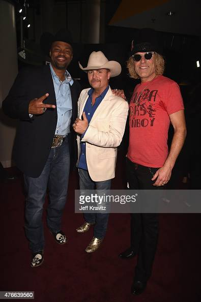 Musican Cowboy Troy with musicians John Rich and Big Kenny of Big Rich attend the 2015 CMT Music awards at the Bridgestone Arena on June 10 2015 in...