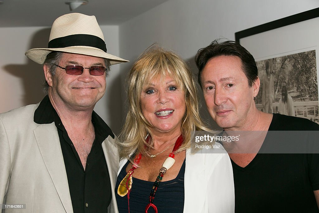 Musican Mickey Dolenz, photographer Pattie Boyd and musician <a gi-track='captionPersonalityLinkClicked' href=/galleries/search?phrase=Julian+Lennon&family=editorial&specificpeople=211480 ng-click='$event.stopPropagation()'>Julian Lennon</a> attend the Pattie Boyd: Newly Discovered Photo Exhibition at Morrison Hotel Gallery on June 28, 2013 in West Hollywood, California.