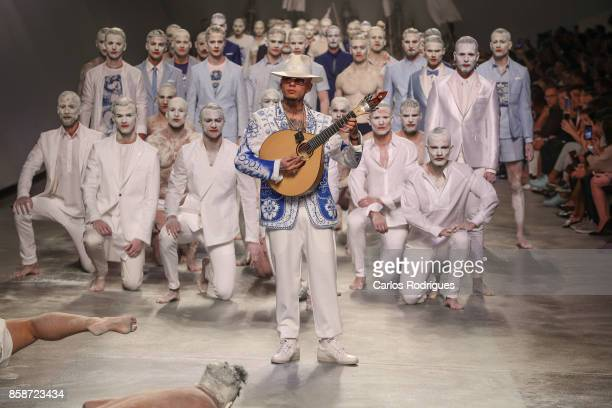 Musican Mike during the catwalk during Nuno Gama contest runway show on October 7 2017 in Lisboa CDP Portugal