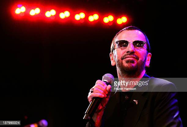 Musican Ringo Starr on stage at 'SiriusXM's Town Hall With Ringo Starr' And Host Russell Brand and Moderator Don Was Live On SiriusXM's The Spectrum...