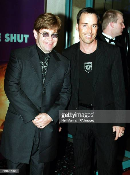 Musican Sir Elton John with his partner David Furnish at the UK premiere of the film 'Eyes Wide Shut' directed by the Late Stanley Kubrick and...
