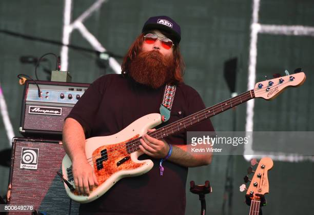 Musican Zac Cockrell of musical group Alabama Shakes performs on The Oaks stage during Arroyo Seco Weekend at the Brookside Golf Course at on June 24...