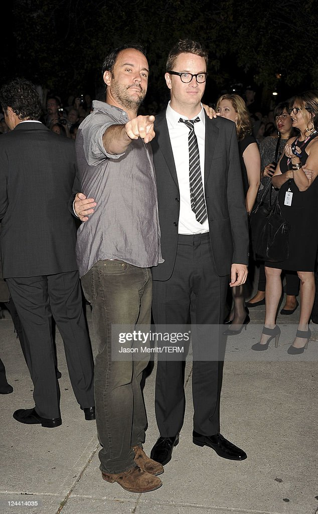 Musican/actor Dave Mathews (L) and director <a gi-track='captionPersonalityLinkClicked' href=/galleries/search?phrase=Nicolas+Winding+Refn&family=editorial&specificpeople=5498587 ng-click='$event.stopPropagation()'>Nicolas Winding Refn</a> arrive at 'Ides Of March' Premiere at Roy Thomson Hall during the 2011 Toronto International Film Festival on September 9, 2011 in Toronto, Canada.
