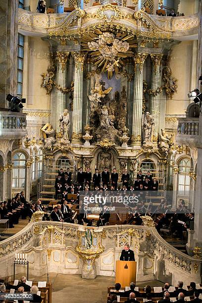 Musicans are seen at a ceremony in Frauenkirche during the commemoration of the 70th anniversary of the Allied firebombing of Dresden on February 13...