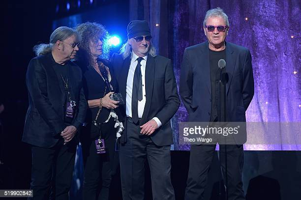 Musicans Ian Paice Roger Glover and Ian Gillan of Deep Purple speak onstage at the 31st Annual Rock And Roll Hall Of Fame Induction Ceremony at...