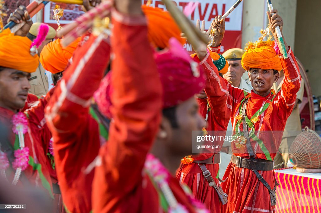 Musicans performing at the Gangaur Festival in Jaipur, Rajasthan, India : Stock Photo