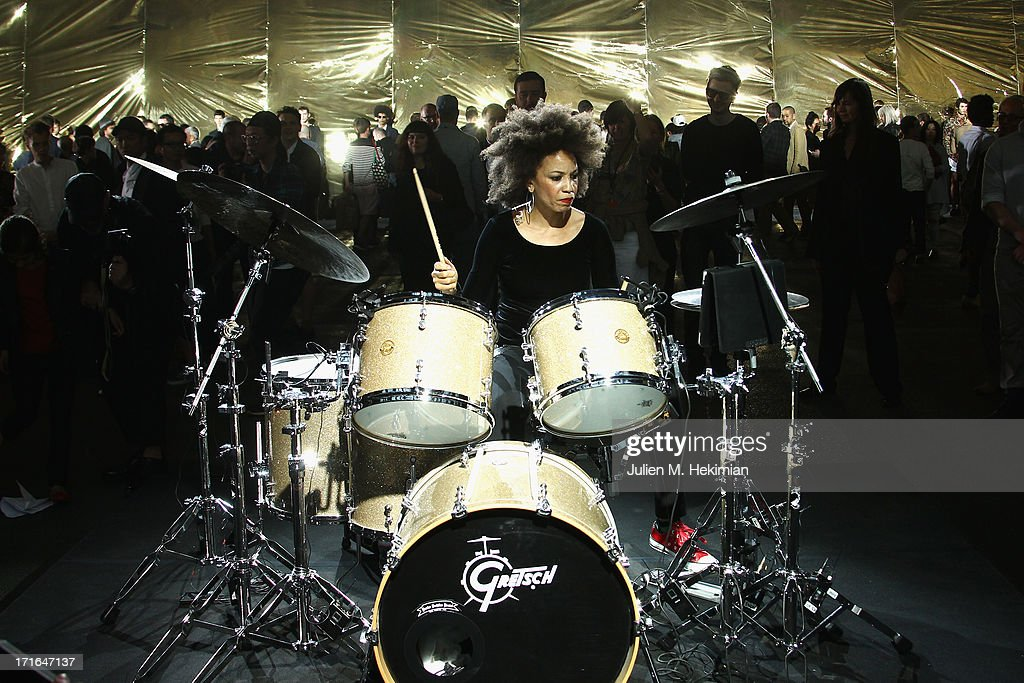 Musicia Cindy Blackman performs prior the Dries Van Noten Menswear Spring/Summer 2014 show as part of the Paris Fashion Week on June 27, 2013 in Paris, France.