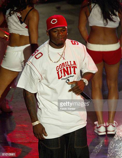 Musician 50 Cent performs on stage at the 2004 Black Entertainment Awards held at the Kodak Theatre on June 29 2004 in Hollywood California