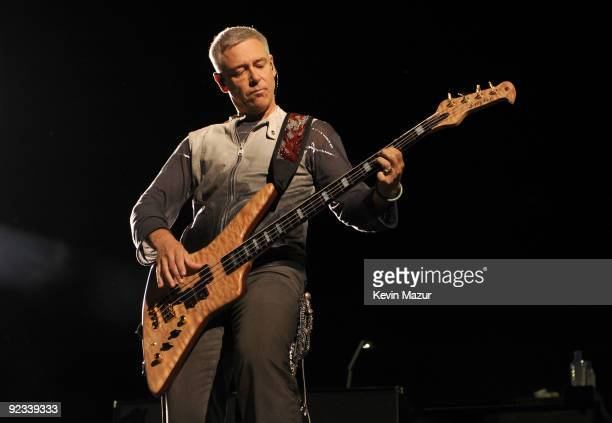 Musician Adam Clayton of the band U2 performs at Rose Bowl during their U2 360 Tour on October 25 2009 in Pasadena California