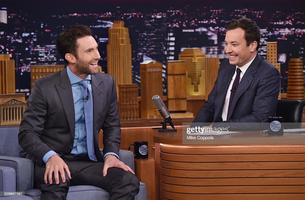 Musician Adam Levine, and Jimmy Fallon perform during his visit to the visit 'The Tonight Show Starring Jimmy Fallon' on April 28, 2016 in New York, New York.