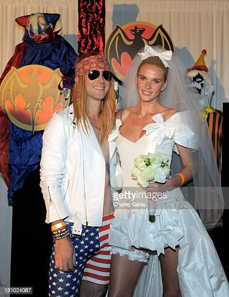 Musician Adam Levine and model Anne V attend Bacardi and Maroon 5's Annual Halloween Bash held at Hollywood Forever Cemetary on October 31 2011 in...