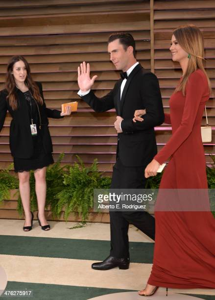 Musician Adam Levine and model Behati Prinsloo attend the 2014 Vanity Fair Oscar Party hosted by Graydon Carter on March 2 2014 in West Hollywood...