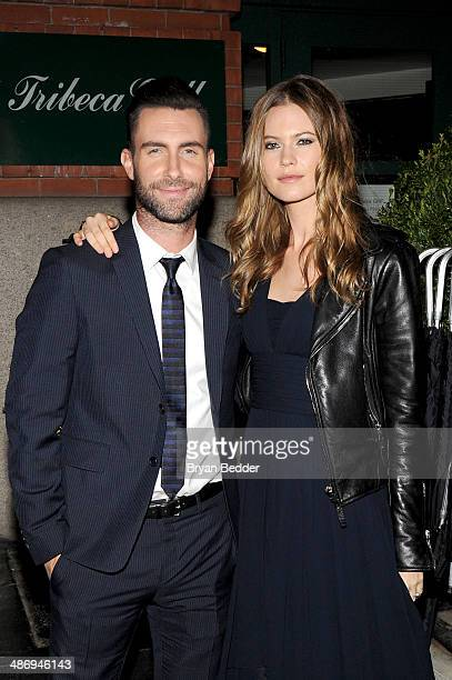 Musician Adam Levine and model Behati Prinsloo attend the CHANEL Dinner in honor of the 2014 Tribeca Film Festival closing night film 'Begin Again'...