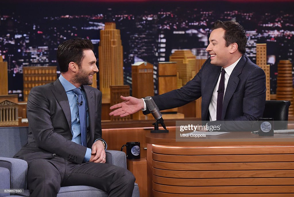 Musician Adam Levine (L) is interviewed by Jimmy Fallon during his visit to the visit 'The Tonight Show Starring Jimmy Fallon' on April 28, 2016 in New York, New York.