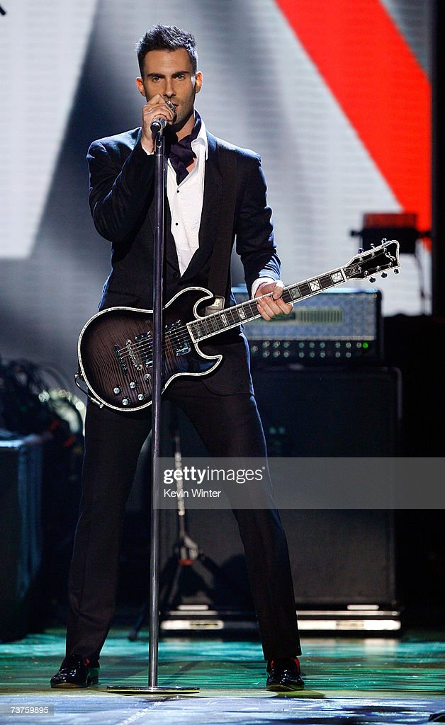 Musician Adam Levine of the band Maroon 5 performs onstage during the 20th Annual Kid's Choice Awards held at the UCLA Pauley Pavilion on March 31...