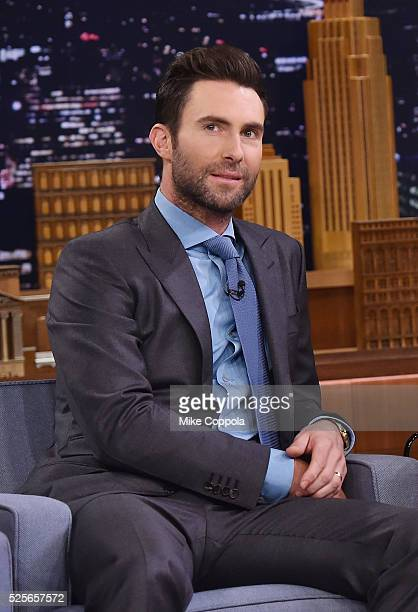 Musician Adam Levine visits 'The Tonight Show Starring Jimmy Fallon' on April 28 2016 in New York New York