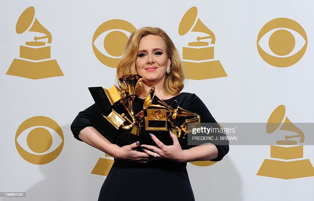 Musician Adele poses with her six trophies at the 54th Grammy Awards in Los Angeles, California, February 12, 2012. AFP PHOTO/ FREDERIC J. BROWN