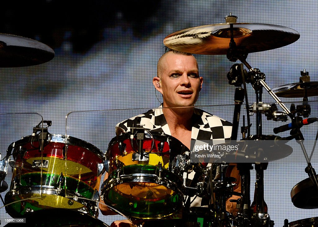 Musician Adrian Young of No Doubt performs at Gibson Amphitheatre on November 24, 2012 in Universal City, California.