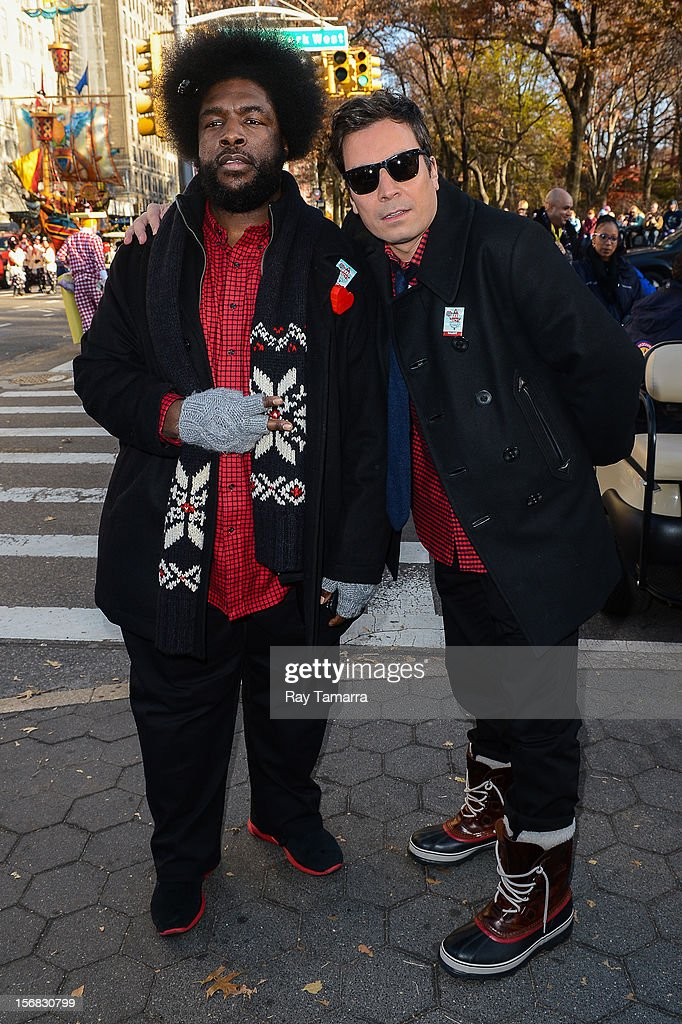 Musician Ahmir Thompson (L) and TV personality Jimmy Fallon attends the 86th Annual Macy's Thanksgiving Day Parade on November 22, 2012 in New York City.