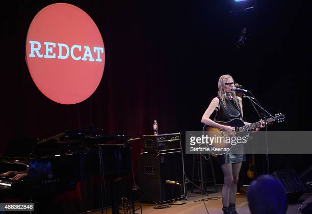 Musician Aimee Mann performs onstage during the 2015 REDCAT Gala Honoring Jamie And Michael Lynton And Gabriel Orozco at REDCAT Theater on March 14...