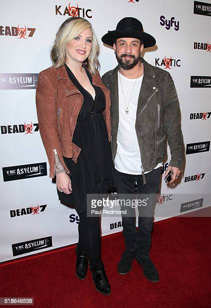 Musician AJ McLean and wife Rochelle Deanna Karidis on the red carpet for the Premiere of Syfy's 'Dead 7' at Harmony Gold on April 1 2016 in Los...