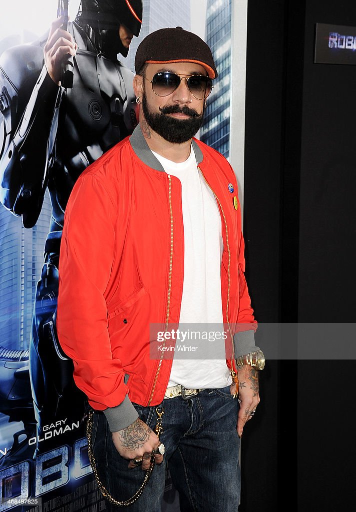 Musician <a gi-track='captionPersonalityLinkClicked' href=/galleries/search?phrase=AJ+McLean&family=editorial&specificpeople=208803 ng-click='$event.stopPropagation()'>AJ McLean</a> arrives at the premiere of Columbia Pictures' 'Robocop' at TCL Chinese Theatre on February 10, 2014 in Hollywood, California.