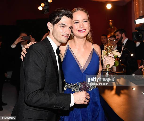 Musician Alex Greenwald and actress Brie Larson winner of Best Actress for 'Room' attend the 88th Annual Academy Awards Governors Ball at Hollywood...