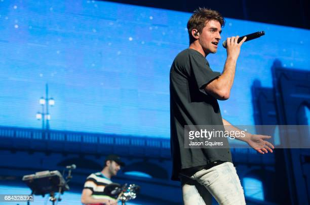 Musician Alex Pall and singer Andrew Taggart of The Chainsmokers perform at Sprint Center on May 17 2017 in Kansas City Missouri