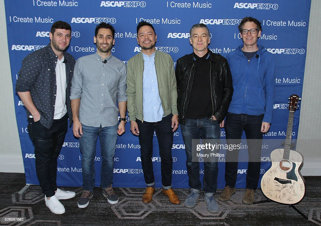 Musician Alex Schwartz, musician Joe Khajadourian, ASCAP Associate Director, Pop/Rock Membership, Ed Reyes, musician Wally Gagel and musician Xandy Berry pose with a #StandWithSongwriters guitar, which will be presented in May to members of Congress to urge them to support reform of outdated music licensing laws, during the 2016 ASCAP 'I Create Music' EXPO on April 30, 2016 in Los Angeles, California.