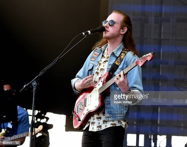 Musician Alex Trimble of Two Door Cinema Club performs on the Coachella Stage during day 2 of the Coachella Valley Music And Arts Festival at the...