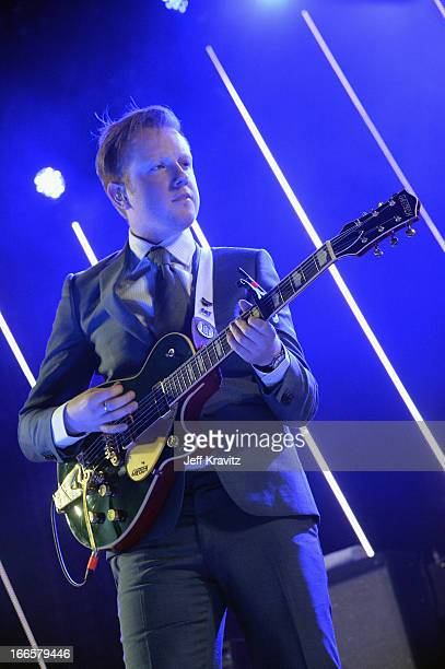 Musician Alex Trimble of Two Door Cinema Club performs onstage during day 2 of the 2013 Coachella Valley Music And Arts Festival at the Empire Polo...
