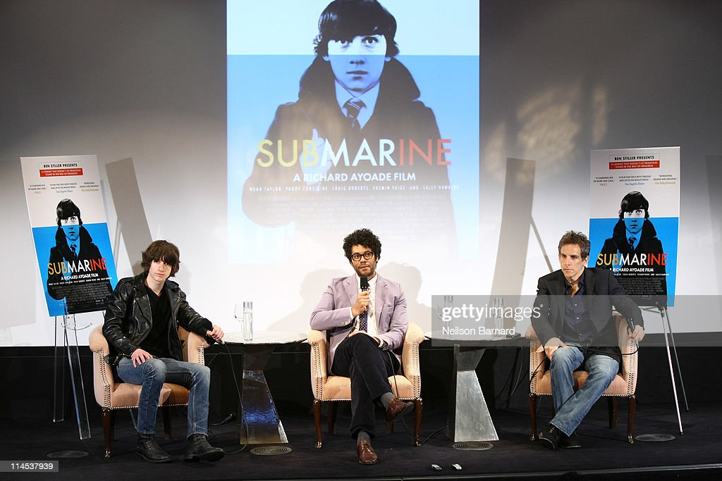 Musician Alex Turner, actor and director Richard Ayoade, and actor and executive producer Ben Stiller attend the 'Submarine' press conference at the Crosby Street Hotel on May 23, 2011 in New York City.